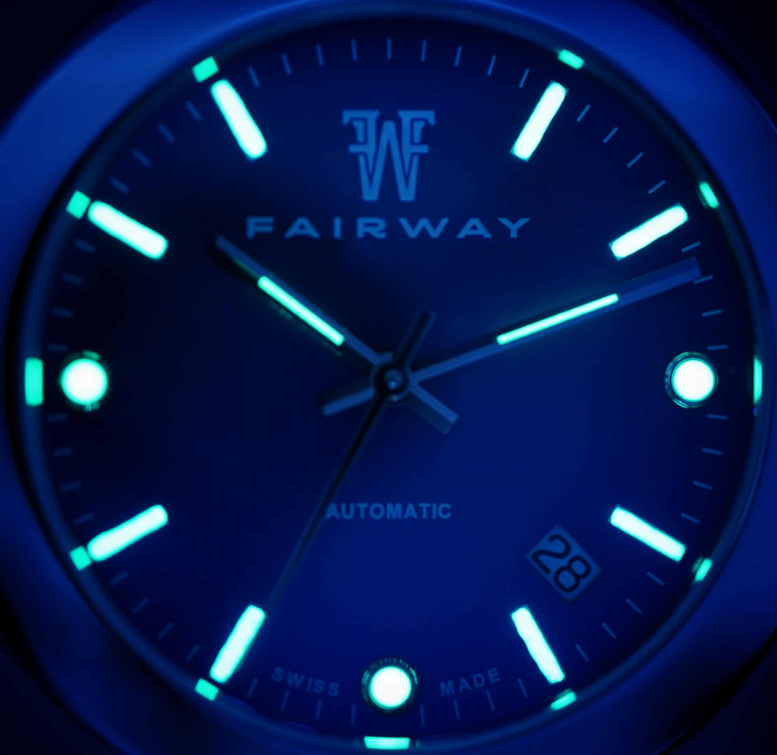 Super LumiNova on the dial of the Putter P01 by Fairway Watches
