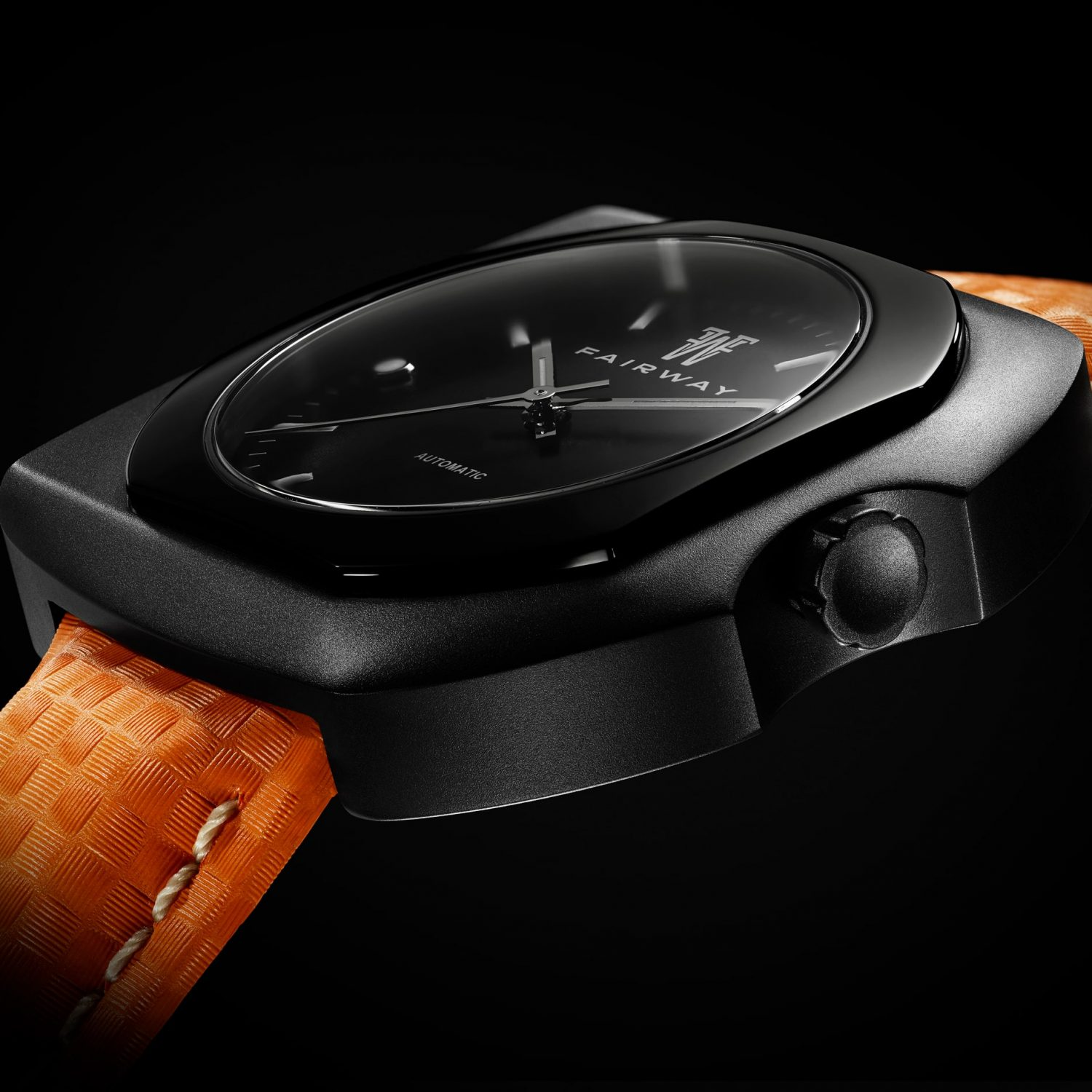 Close-up on the watch Putter P01 steel Black PVD